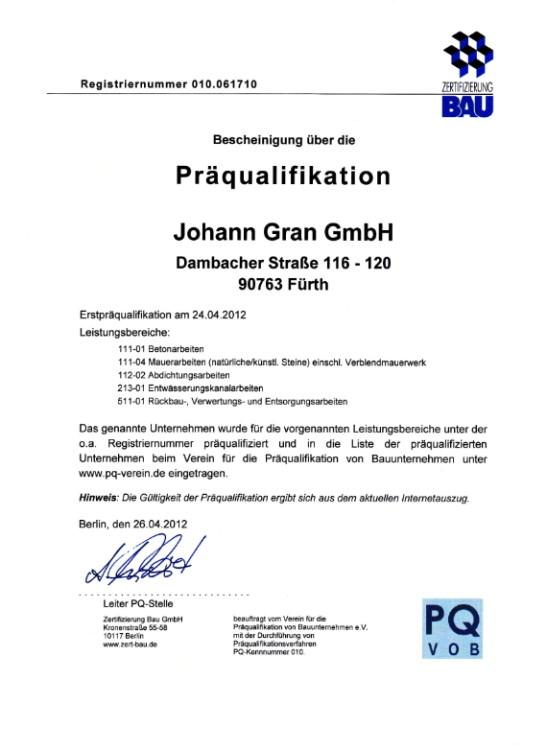 zertifikate qualifikation johann gran gmbh n rnberg. Black Bedroom Furniture Sets. Home Design Ideas
